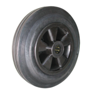 200mm Rubber Tyred Nylon Centred Wheel | 20mm Axle Diameter